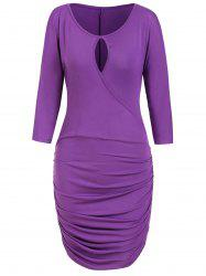 Keyhole Open Shoulder Ruched Dress -