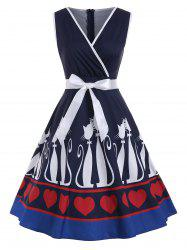 Vintage Cat and Heart Print Pin Up Dress -