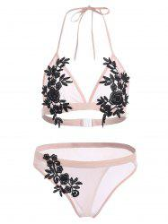 Ensemble de Bikini Applique en Maille Transparente -