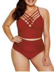 Criss Cross Plus Size Underwire Tankini Set -