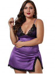 Front Slit Plus Size Lace Panel Babydoll -