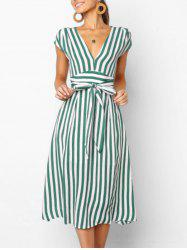 V Neck Cut Out Striped Midi Dress -