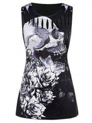 Plus Size Ripped Skull Print Tank Top -