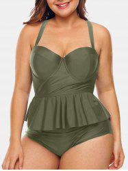 Back Criss Cross Plus Size Underwire Tankini Set -