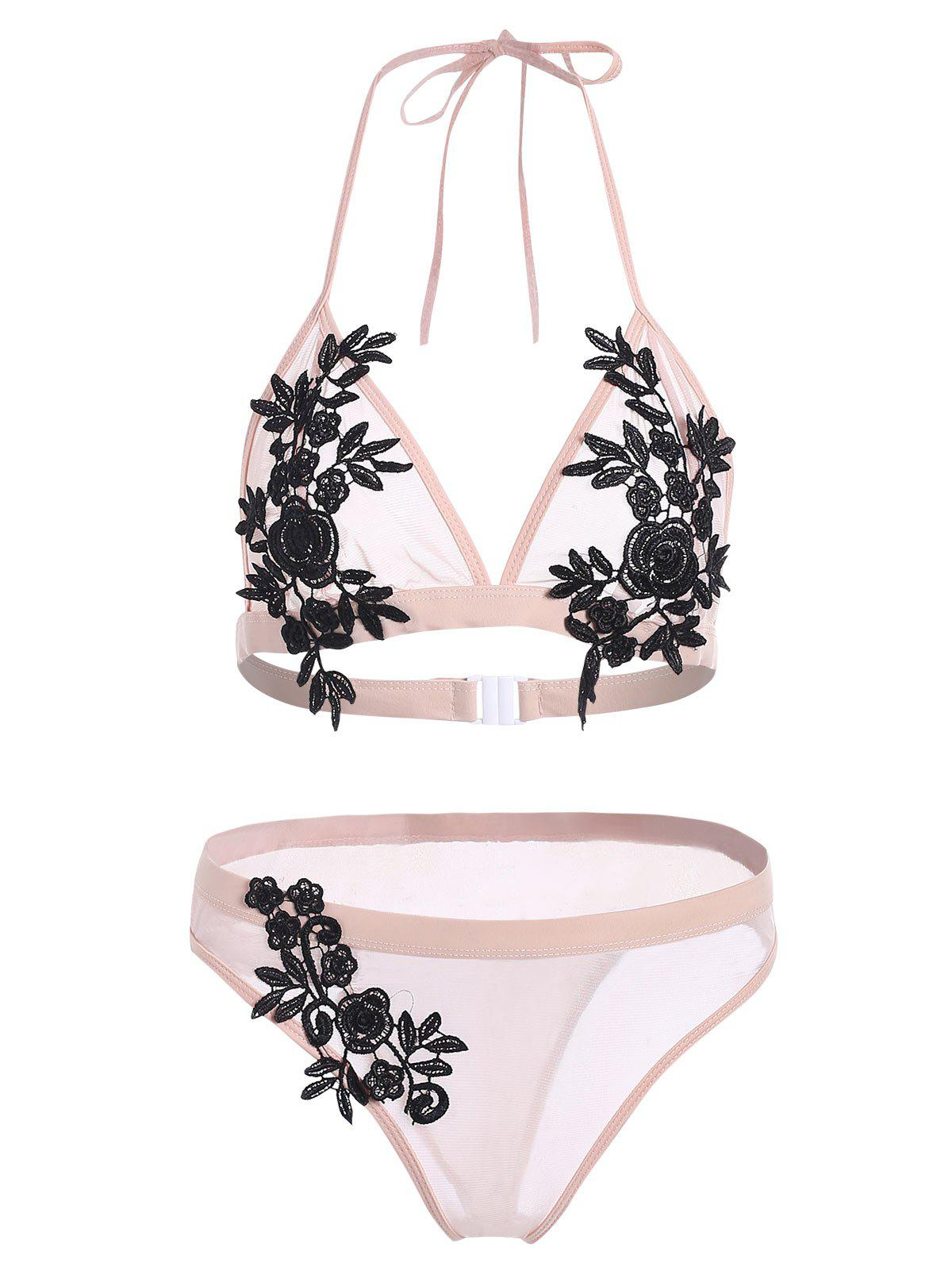 Ensemble de Bikini Applique en Maille Transparente
