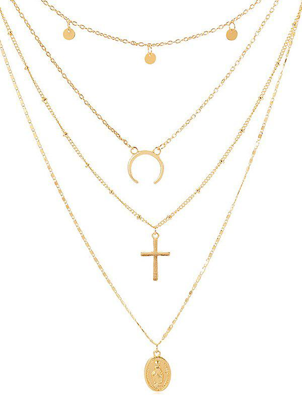 Shop Cross Shape Coin Decoration Multilayered Necklace