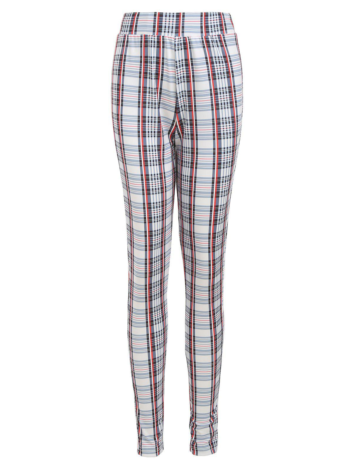 14493c06ff 41% OFF] High Waisted Plaid Skinny Pants | Rosegal