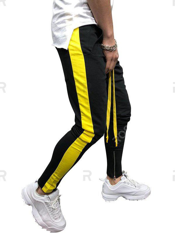 Hot Two Tones Side Striped Patch Sports Pants