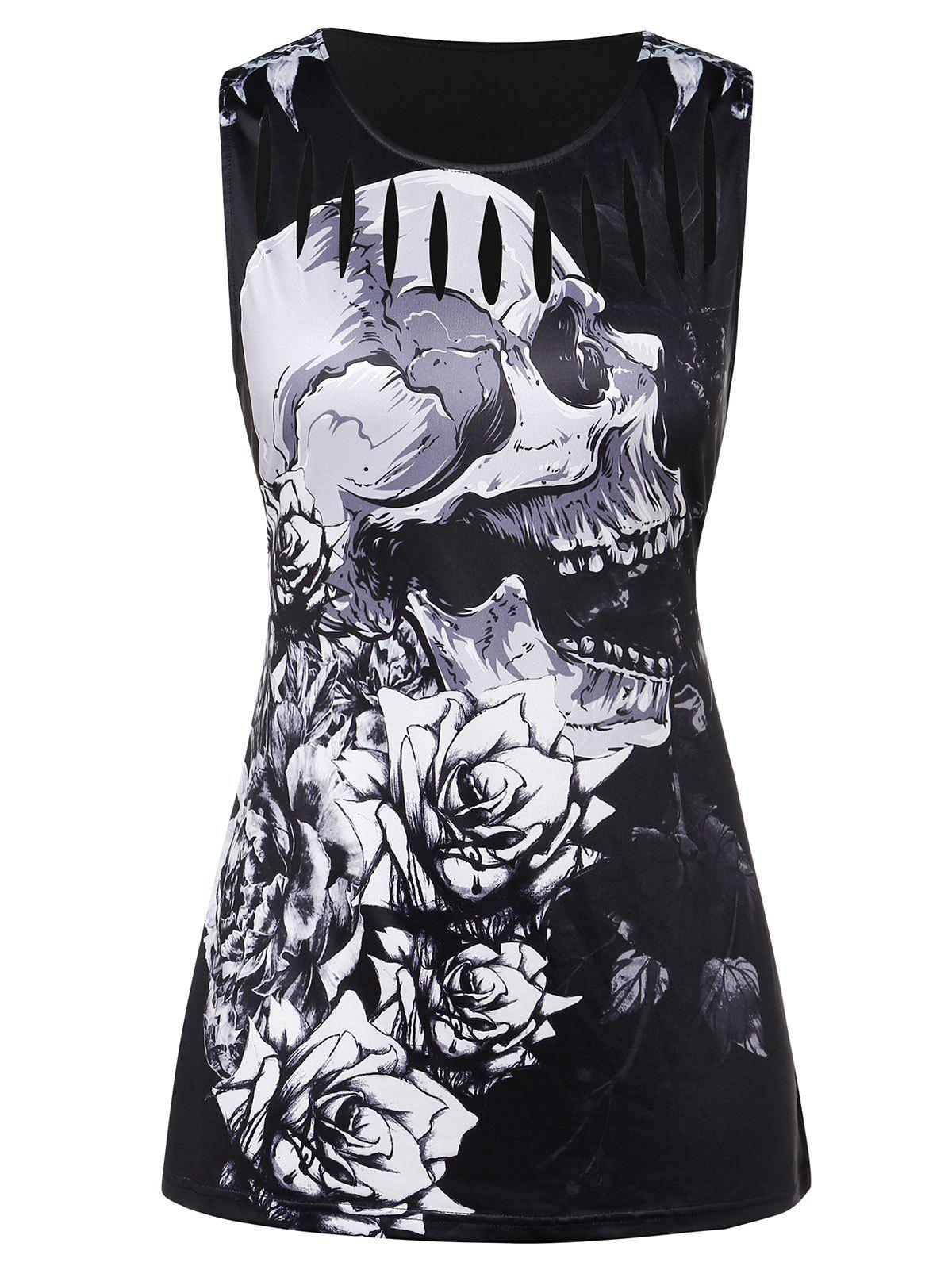 Chic Plus Size Ripped Skull Print Tank Top