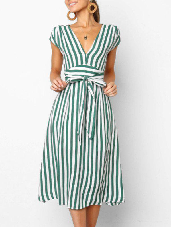 Discount V Neck Cut Out Striped Midi Dress