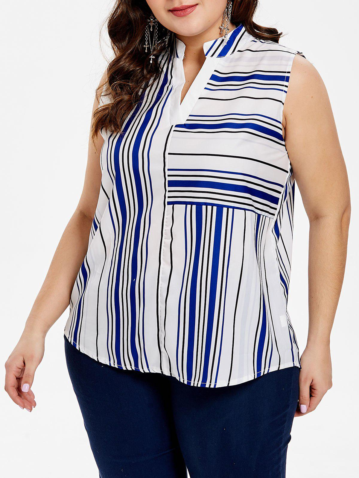 1efc5cddfe2 2019 Plus Size Striped Sleeveless High Low Blouse