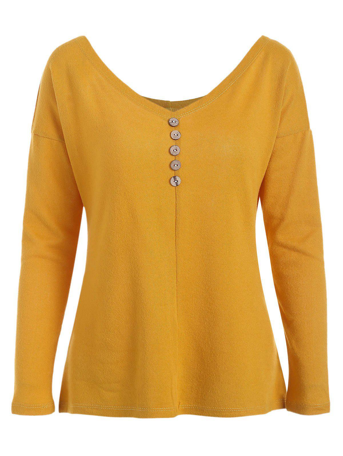 Latest Buttoned Long Sleeve Knit Tee