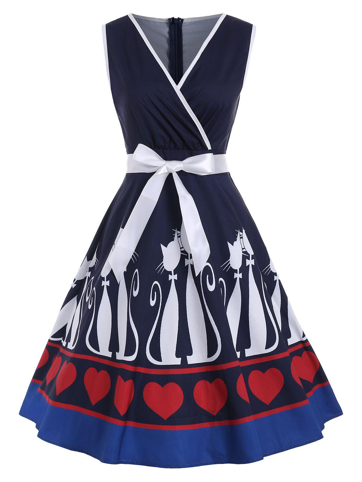 Shops Vintage Cat and Heart Print Pin Up Dress