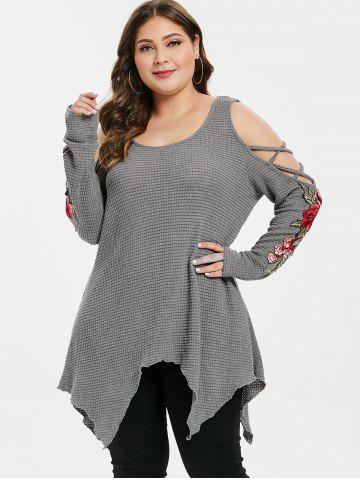 Plus Size Cold Shoulder Floral Embroidery Criss Cross Handkerchief Sweater