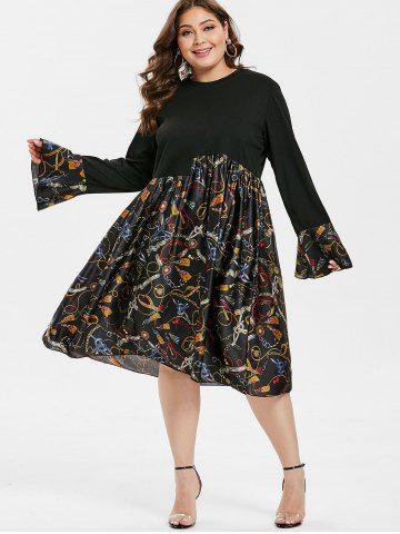 Plus Size Flare Sleeve Printed Dress