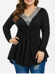Plus Size Sequined Pleated T-shirt -