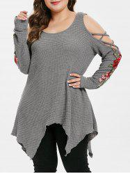 Plus Size Cold Shoulder Floral Embroidery Criss Cross Handkerchief Sweater -