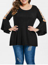 Plus Size Bell Sleeve Sequined Belt T-shirt -