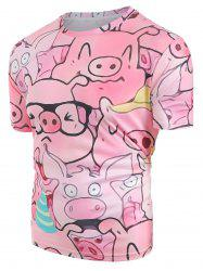 Cartoon Pig Pattern Short Sleeves T-shirt -