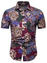 Flowers and Fish Scale Print Short Sleeve Shirt -