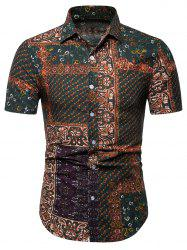 Button Up Paisley Floral Print Casual Shirt -