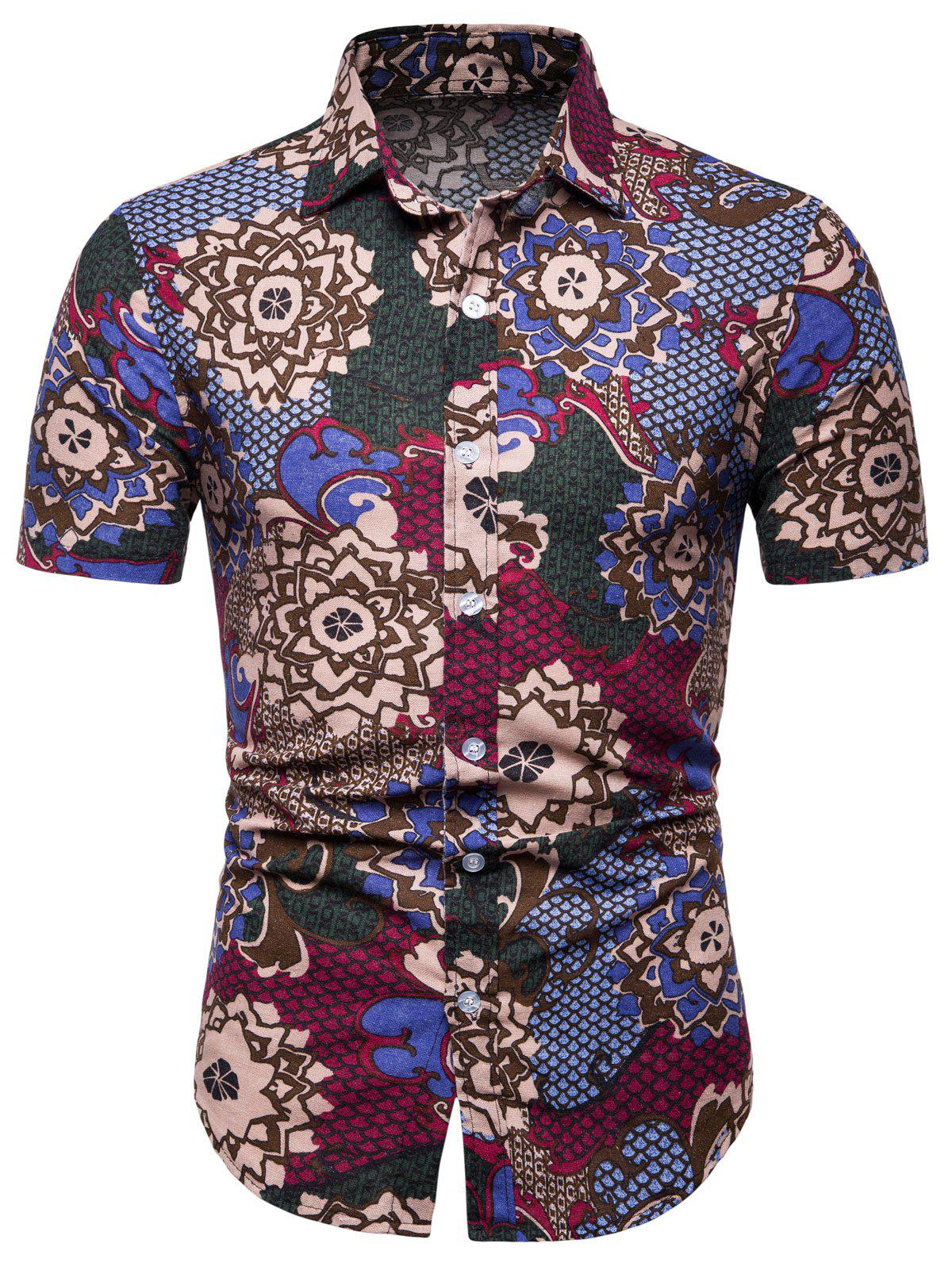 New Flowers and Fish Scale Print Short Sleeve Shirt