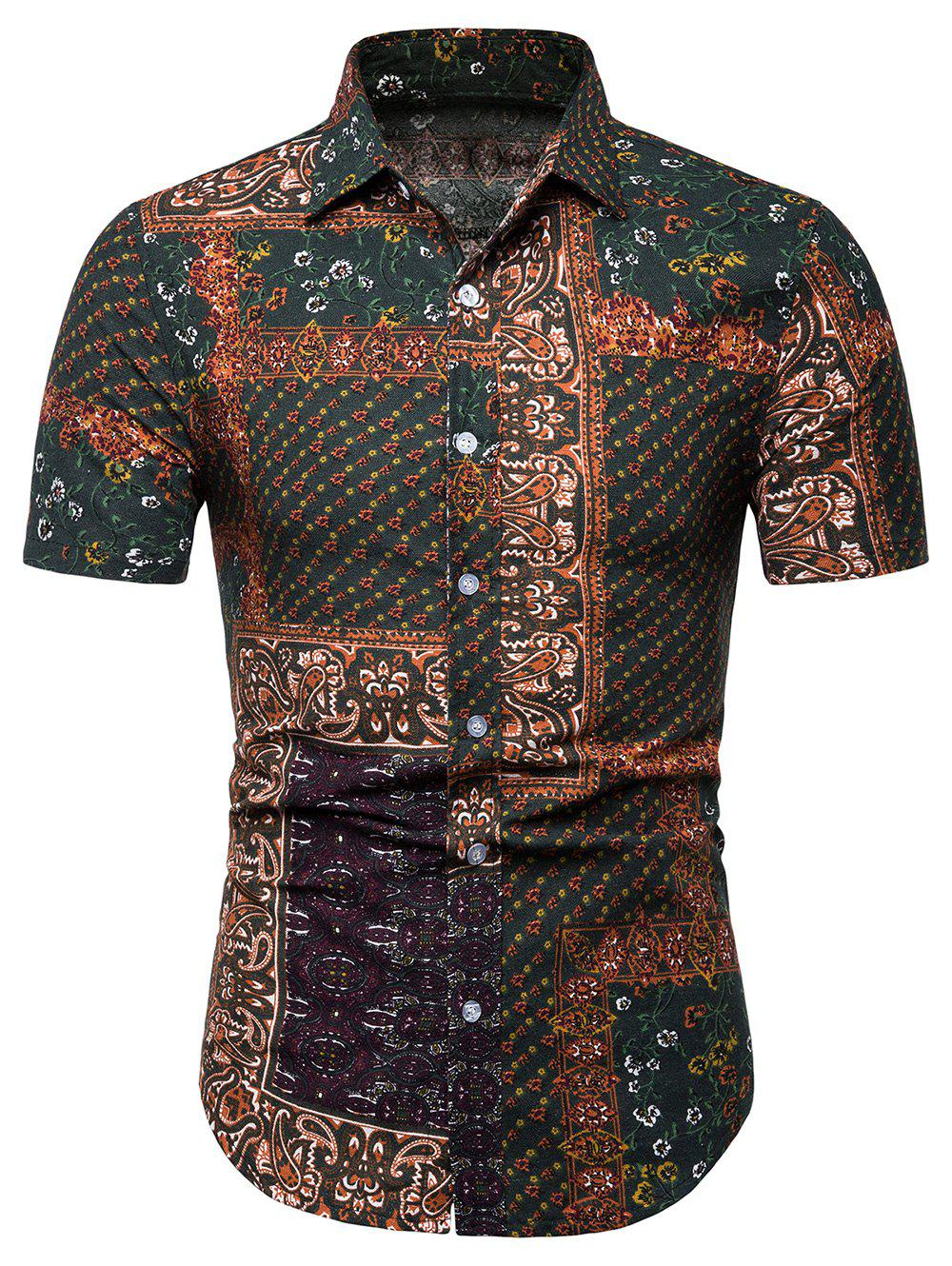 Fancy Button Up Paisley Floral Print Casual Shirt