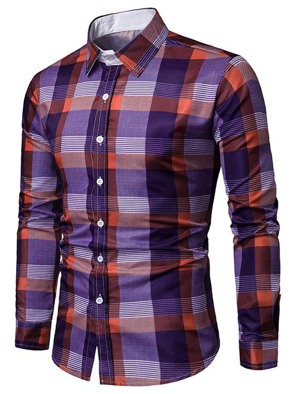 Unique Button Up Long Sleeves Checkered Print Shirt