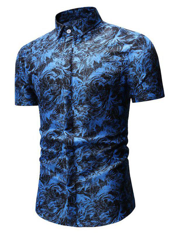 Trendy Button Up Palm Leaf Print Shirt