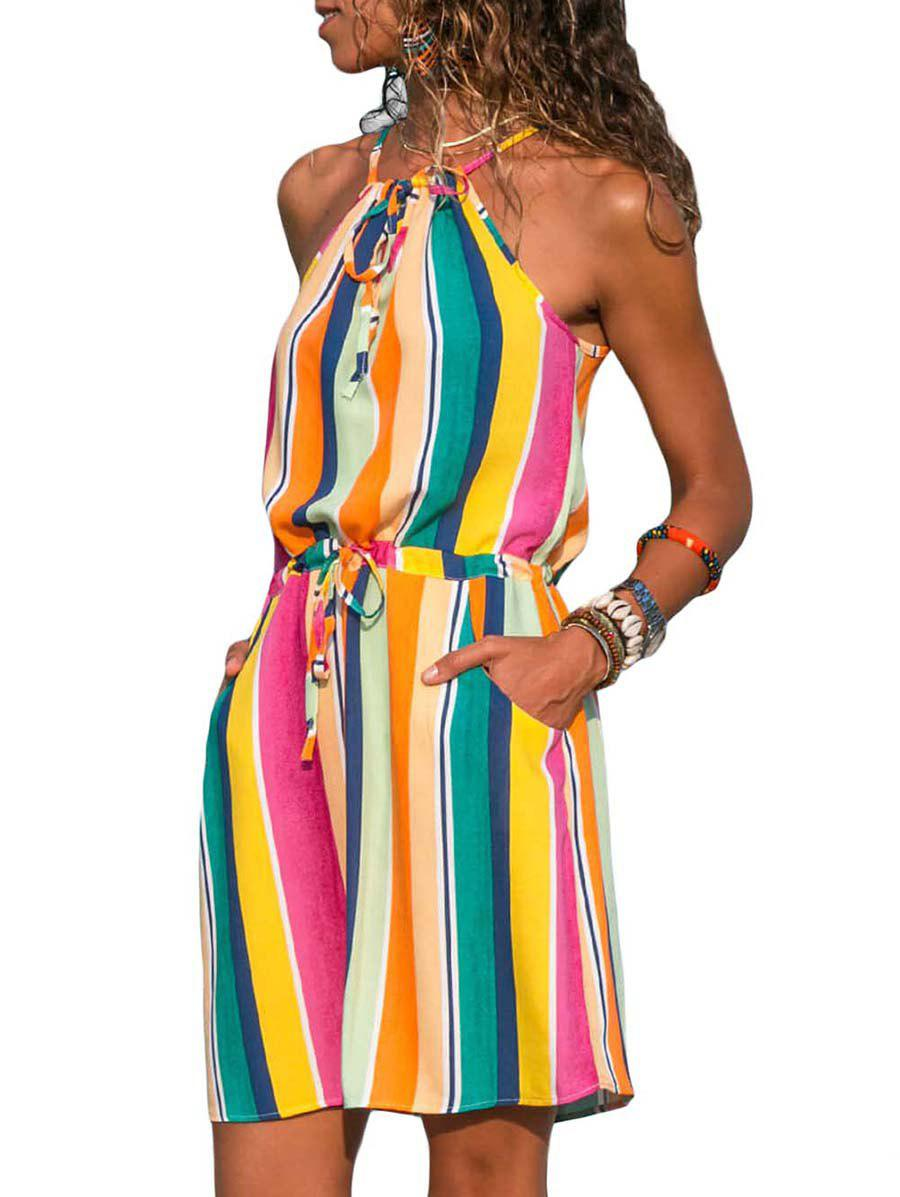 d3882a87f4 43% OFF] Spaghetti Strap Drawstring Rainbow Color Dress | Rosegal