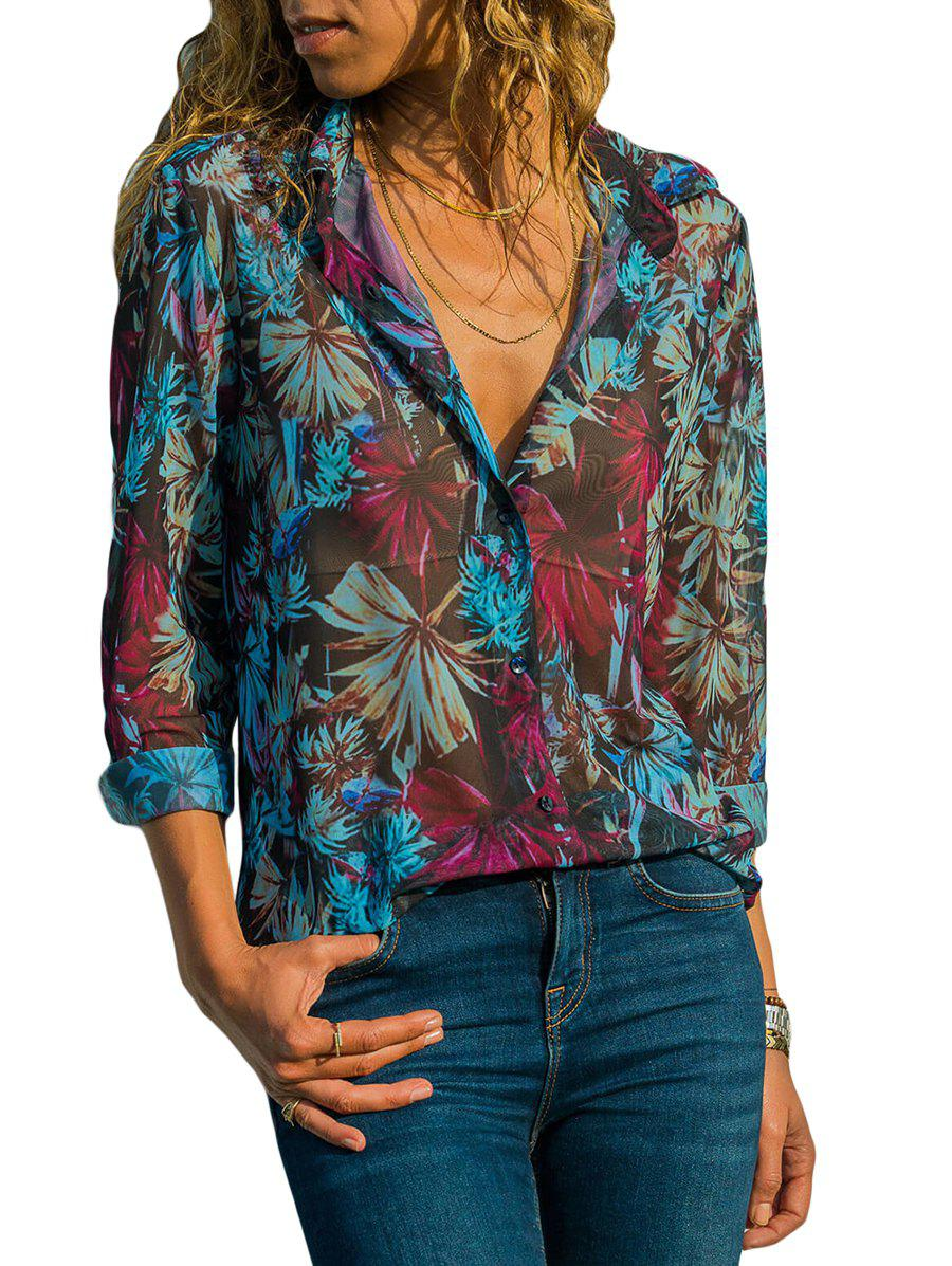Chic Floral Print High Low Button Up Shirt