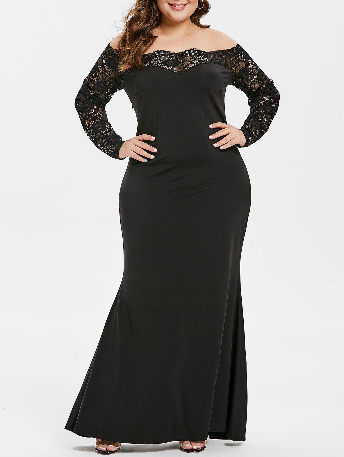 b9fae2bf09f 2019 OFF The Shoulder Plus Size Lace Sleeve Maxi Dress