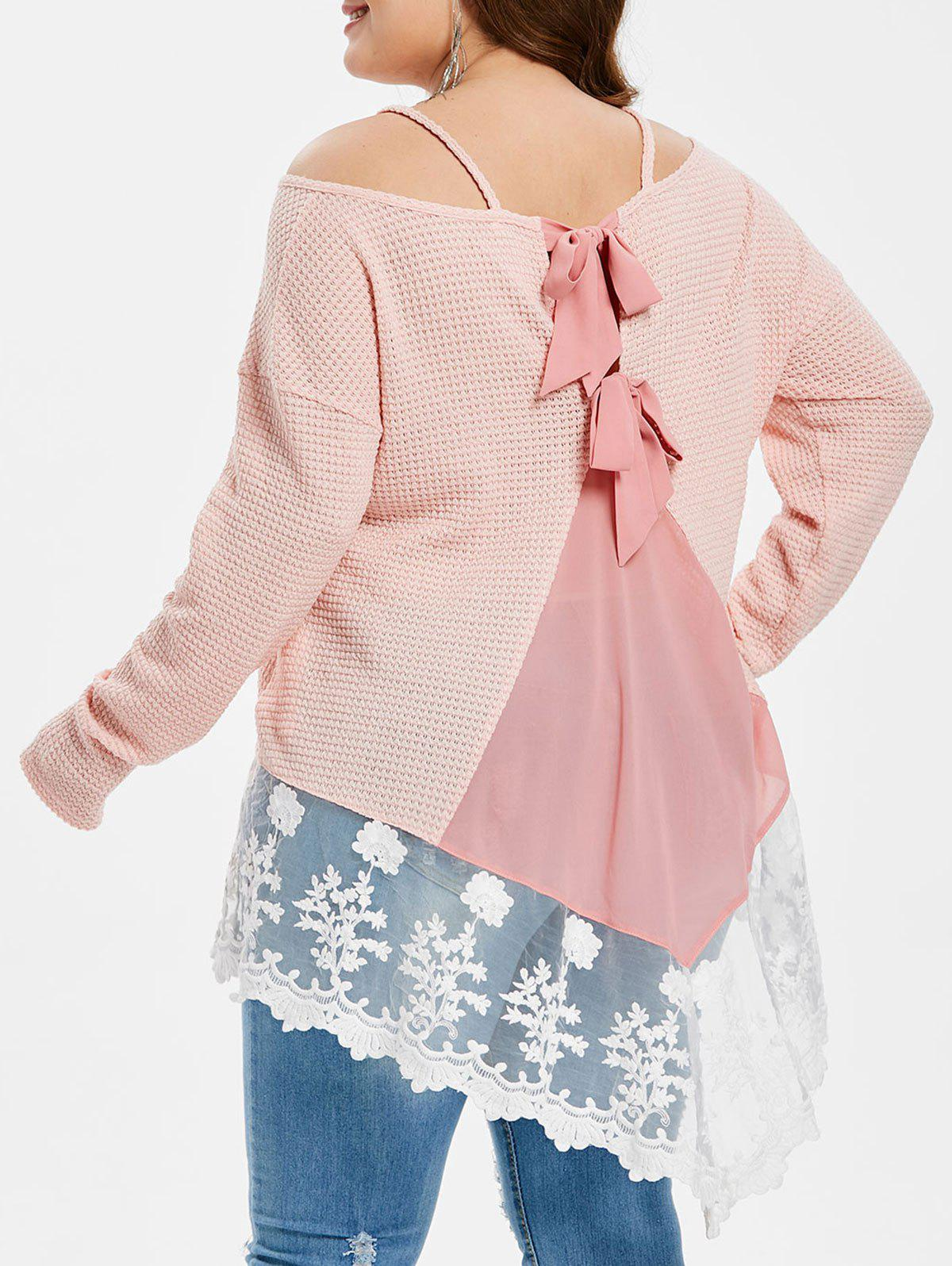 Outfit Plus Size Back Bowknot Mesh Splicing T-shirt