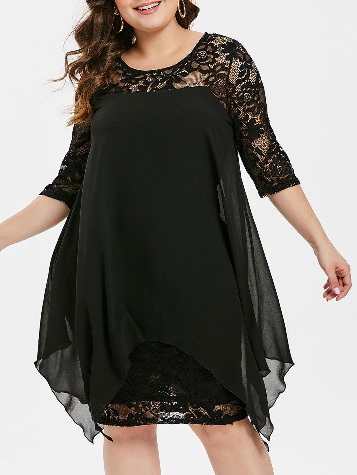 Affordable Plus Size Sheer Handkerchief Lace Dress