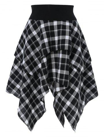 High Waist Asymmetrical Plaid Skirt