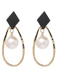 Water Drop Shape Metal Pearl Earrings -