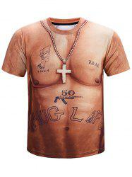 Short Sleeves Naked Belly Tattoo Print Casual T-shirt -