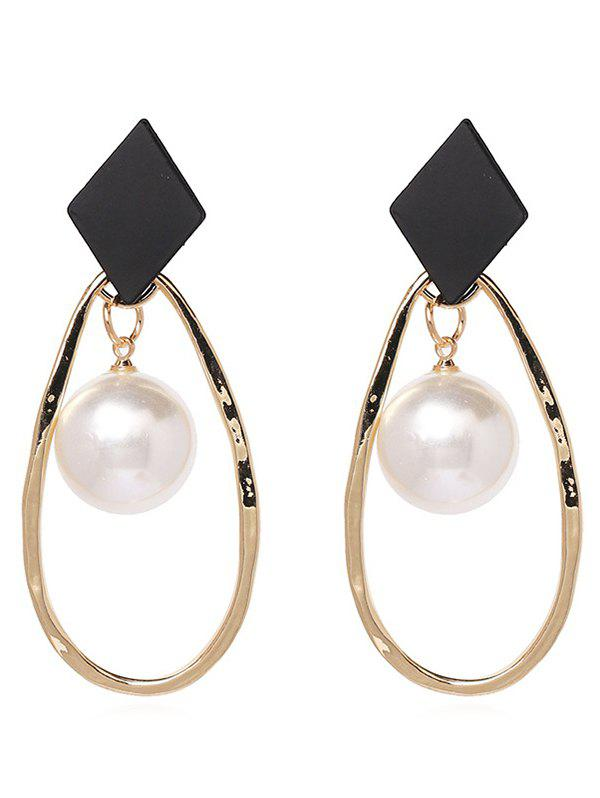 Cheap Water Drop Shape Metal Pearl Earrings