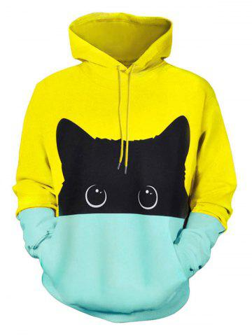 ZAFUL Color Block Cartoon Cat Print Drawstring Hoodie