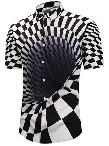 3D Contrast Checked Swirl Print Short Sleeve Shirt