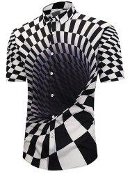 3D Contrast Checked Swirl Print Short Sleeve Shirt -