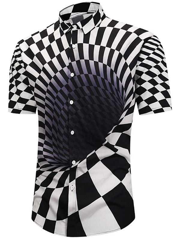 Store 3D Contrast Checked Swirl Print Short Sleeve Shirt