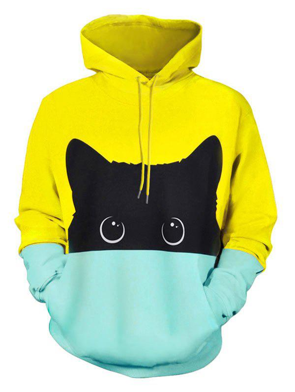 7f312b97093 41% OFF  ZAFUL Color Block Cartoon Cat Print Drawstring Hoodie