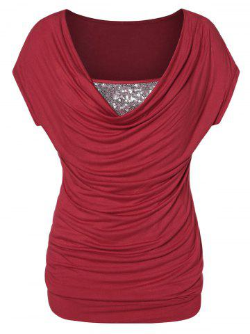 Plus Size Sequined Cowl Collar T Shirt