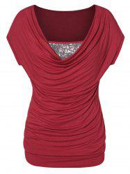 Plus Size Sequined Cowl Collar T Shirt -