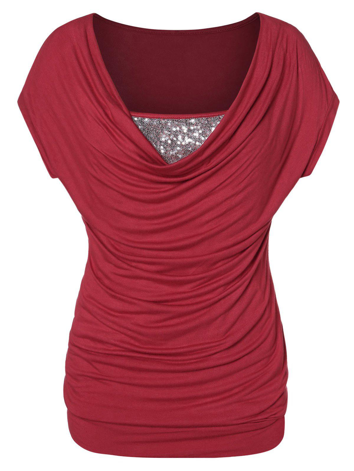 New Plus Size Sequined Cowl Collar T Shirt