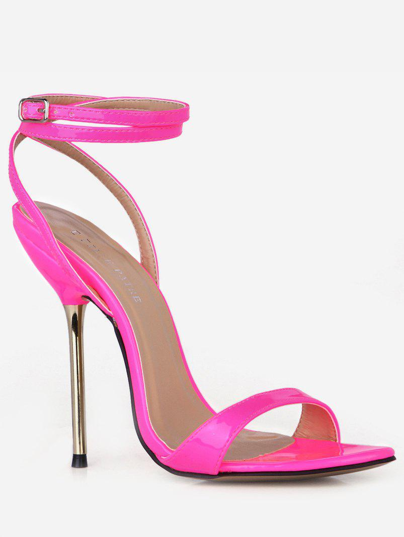 b4c03d97481 2019 Patent Leather Ankle Wrap Heeled Sandals