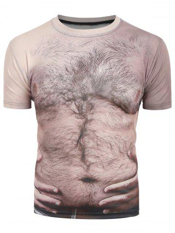 Chest Hair 3D Print Short Sleeves Tee