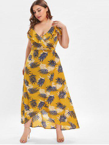 c9076229853 Plus Size Cold Shoulder Leaves Print Midi Dress