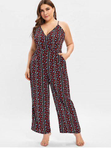 5868c4fb09f Plus Size Halter Open Back Printed Palazzo Jumpsuit